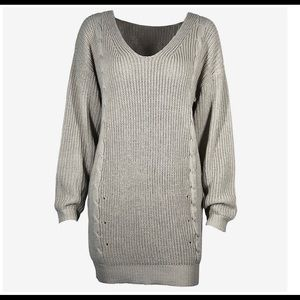 Dresses - Grey Pull-Over Knitted Sweater